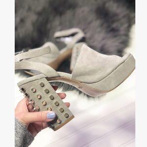 Fergie New Studded Gray Suede Block Heels